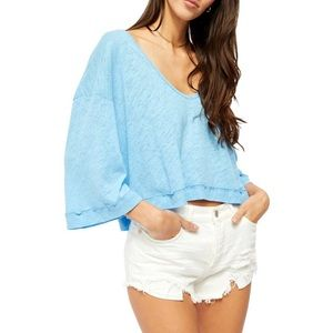 NWT Free People Cool Morning Blue Top